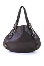 Gucci Womens Embossed Monogram Leather Shoulder Bag Handbag Brown