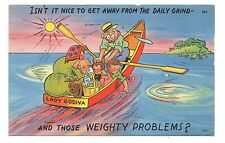 Family In Rowboat Vacation Lake Humor Fun Cartoon Comic Vintage Postcard Jan17