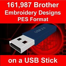161,987 Brother Embroidery Machine Patterns PES Designs Files USB Stick Drive