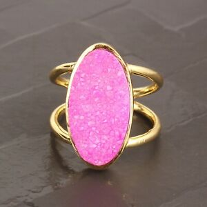 Hot Pink Sugar Druzy Yellow Gold Plated Adjustable Double Layer Band Ring