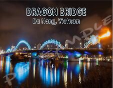 Vietnam - Da Nang DRAGON BRIDGE - night - Travel Souvenir Fridge Magnet