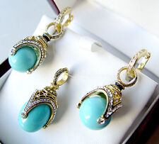 SALE !  SUPERB EGG PENDANT & EARRINGS SET STERLING SILVER GENUINE TURQUOISE