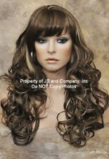 WOW Long Wavy Curly Multi-color Medium Brown Mix Wig WACA 8-12-24 with Bangs
