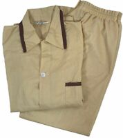 Permanent Press Women Tan Brown Button Down Top & Pants Pajama Set Size Medium