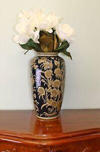 Flower Vase Embossed Ceramic Floral Regal Design Home Decor Navy Blue Gold 35cm
