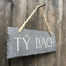 Welsh Slate Language Sign Ty Bach Bathroom Wall Plaque 22cm x 8cm Rustic Cottage