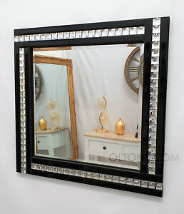 Art Deco Acrylic Crystal Black Glass Square Frame Bevelled Wall Mirror 60x60cm