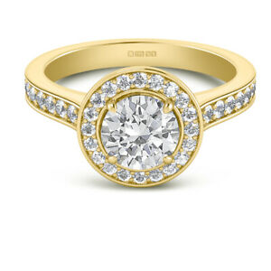 1.70 Ct Moissanite Round Cut Yellow Gold Engagement Ring 14K Solitaire Girl ring