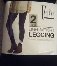 NEW 2 PAIR WOMEN'S FELINA COTTON MODAL LEGGINGS SUPER SOFT BLACK SIZE SMALL
