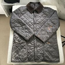 Mens BARBOUR LIDDESDALE Quilted Corduroy OverShirt Jacket Black - L/XL - Damaged