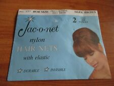 Jac-o-net Nylon Hair Nets Pkg of 2 Dark Brown Bob Size #157