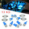 13Pcs/set LED Lights Interior Package Kit For Dome License Plate Lamp Bulb Blue