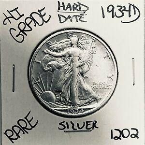 1934 D LIBERTY WALKING SILVER HALF DOLLAR HI GRADE U.S. MINT RARE COIN 1202