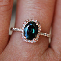 Natural Diamond 1.5 Ct Blue Sapphire Gemstone Ring Solid 14kt Rose Gold Rings