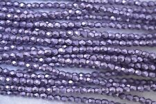 Czech Fire Polished 3mm round faceted glass beads - CT Metallic Ballet Slipper