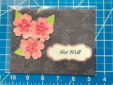 Get Well Card Black Pink Flowers So Pretty Handmade