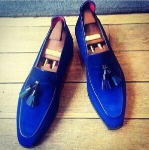 Mens Handmade Shoes Royal Blue Suede Leather Loafer Tassel Formal Dress Boots