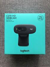 Logitech C270 Webcam Black 720p Widescreen Video Call Factory Sealed SHIPS ASAP