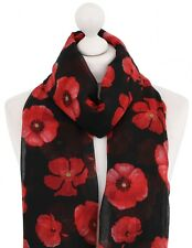 BNWT Long Bold Poppy Print Scarf Pashmina ~ free fast postage ~ UK Seller