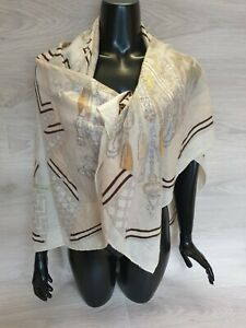 Authentic Hermes Scarf Shawl Bouquets Sellier Cashmere Silk 140cm 55 in Marie