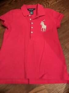 Girls RL Shirt Top Pink With Silver Beaded Logo Size Medium 8/10