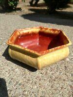 "Vintage Haeger USA Pottery Planter Butterscotch 2-tone 9"" Checkered Hex"