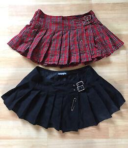 2 LIP SERVICE SCHOOL GIRL SKIRTS Black Red Plaid Punk Gothic Lolita Cosplay Sz L