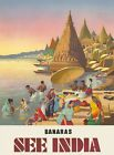 "Vintage Illustrated Travel Poster CANVAS PRINT ~ Ganges River India 8""X 12"""
