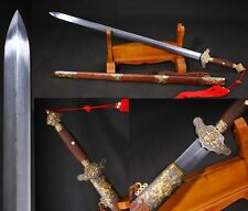 """Chinese Sword""""Peony Jian""""(劍)Alloy Clay Tempered Pattern Steel Sharp High Quality"""