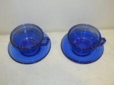 Vintage Set of 2 Hazel Atlas Cobalt Blue Moderntone Cups and Saucers VFC
