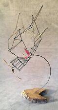 Mid Century Modern Wire Metal Wood Sculpture Single Seat Airplane Brutalist