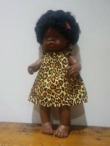 Miniland Doll Clothes handmade dress 38cm leopard print