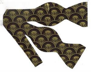 Gold & Black Bow tie / Trendy Metallic Gold Art Deco Fans / Self-tie Bow tie