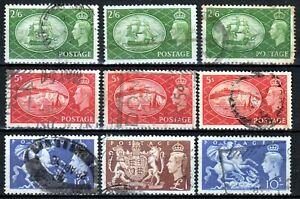 GB Great Britain UK 1951 ☀ KGVI 2/6, 5s & 10/- & £1 ☀ 9v used