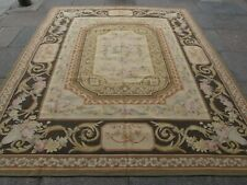 Vintage Hand Made French Design Wool Brown Beige Original Aubusson 300X255cm