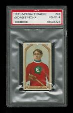 PSA 4 GEORGES VEZINA 1911 C55 Imperial Tobacco Ice Hockey Card #38 ROOKIE
