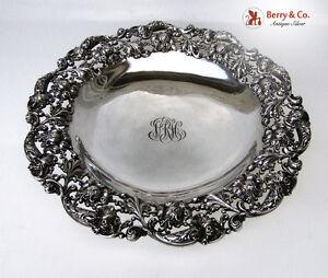 Centerpiece Bowl Dahlia Openwork Sterling Silver International 1900 Monogram VRH