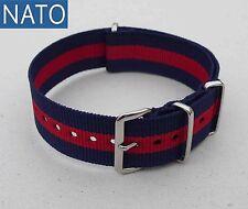 BRACELET MONTRE NATO 22mm (bleu navy / rouge) military watch ancienne mécanique