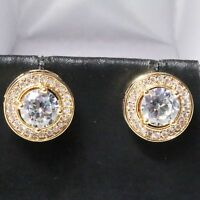 Sparkling Round Cubic Zirconia Stud Earring Women Jewelry 14K Rose Gold Plated