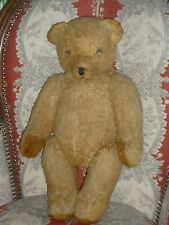 ANCIEN GROS OURS NOUNOURS PELUCHE REMBOURRAGE PAILLE 48 CM OLD TEDDY BEAR