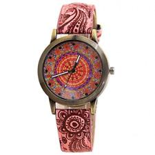 Watch Mandala Bohemian Women Girl Quartz Analog Leather Wristwatch Pink