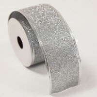 Christmas Gift Wrapping Wired Glitter Ribbons 50mm x 3yds Xmas Festive Season