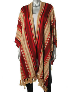 Lauren Ralph Lauren NEW Poncho Sweater Red Linen Blend Swing Top Size M/L