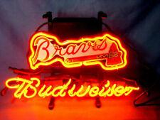 "Budweiser Atlanta Braves Neon Light Sign 14""x10"" Beer Gift Bar Glass Decor Wall"