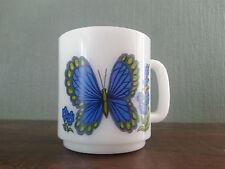 Vtg McKee Glasbake Blue Butterfly Milk Glass Coffee Mug Tea Cup D Handle Green !