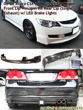 Mu-gen Front + Mu-gen RR Rear Lip (Single Exhaust) Fits 06-08 CSX (JDM Civic)