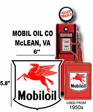"(MOBI-1) 6"" MOBIL OIL SHIELD GASOLINE VINYL DECAL OIL CAN GAS PUMP LUBSTER"