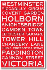 London England Signs - NEW World Travel Train Station Street Signs POSTER