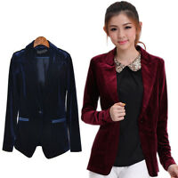 Women Fashion Winter Stylish  Blazer  Office OL Wear Velvet Blazers Tops