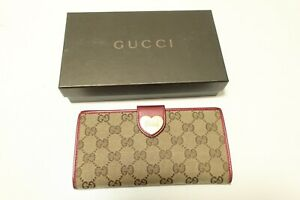 Authentic GUCCI GG  canvas Brown Heart Leather Wallet  #7853